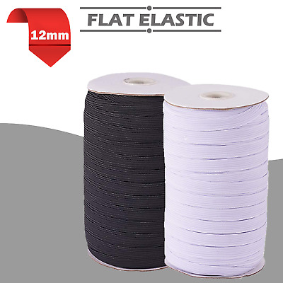 12mm  Wide 1/2 inch Flat 16 Cord Elastic Black or White Quality Sewing Trimming