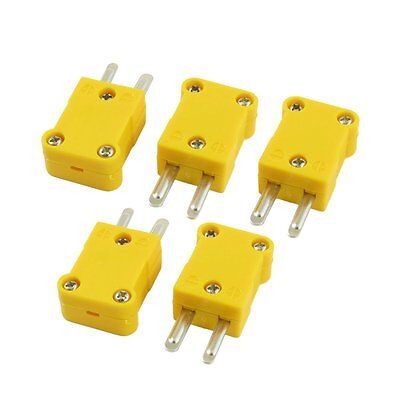 HE 5 Pcs Flat Male 2-Pin K Type Thermocouple Wire Connector