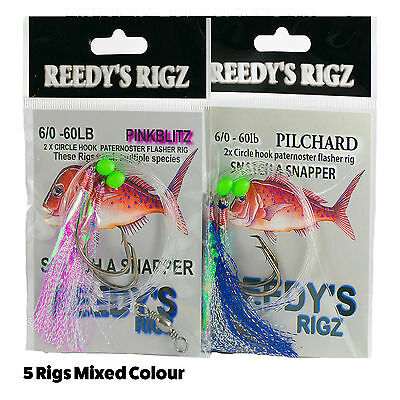 10 Snapper Rig Flasher Rigs 6/0 Circle Hooks  Paternoster bottom 60lb Tackle