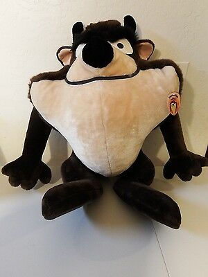 "Warner Bros TASMANIAN DEVIL Plush w/tag JUMBO 24"" Large TAZ Looney Tunes 1990"