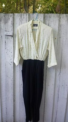 Vtg Michael B Ltd White & Black 80's Jumpsuit Sz 8