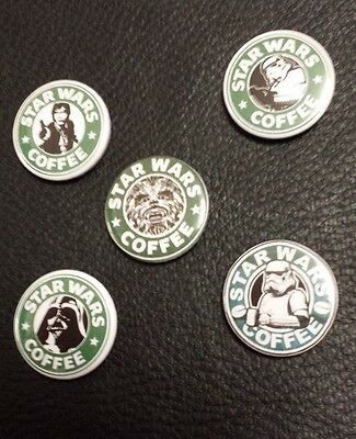 Star Wars Coffee - Lot of 5 Badges Buttons Pins 25mm 1'' **