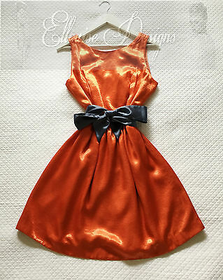 NWT! CUE In The City Bright Orange Metallic Flare Party Cocktail Dress Size 14