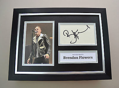 Brandon Flowers Signed A4 Photo Framed Killers Memorabilia Autograph Display COA