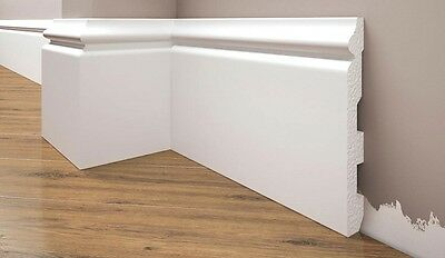 Elegance Skirting Board - 2,44 meter  -  suitable for painting - 138 mm high!!