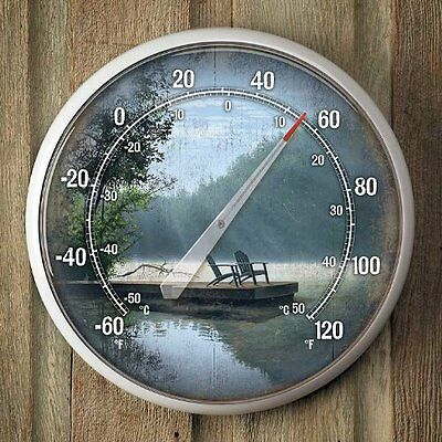 A Place To Ponder Lake Scene Thermometer by Anthony Padgett, New, Free Shipping