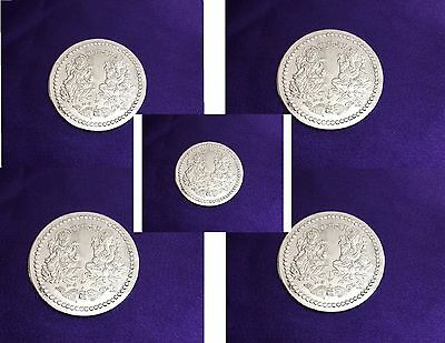 Lakshmi Ganesh Puja Coin Lord Ganesha & Goddess Laxmi Antique White Metal X 5