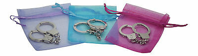 New Mini Silver Handcuffs Keyring holder keychain novelty gift police security