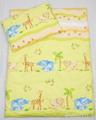 4 Piece Duvet & Pillow + Cover Set Baby Quilt Bedding to fit Cot Bed - Safari