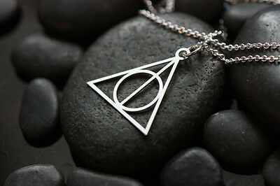 Free Ship Hot movie harry potter deathly hallows metal silver necklace pendant