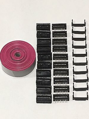 Flat Cable 16 Pins Wires IDC Ribbon 1.27mm pitch 12ft cable & 10 sets connectors
