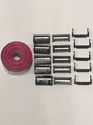 Flat Cable 16 Pins connector 6ft IDC Ribbon 1.27mm pitch and 5 sets connectors