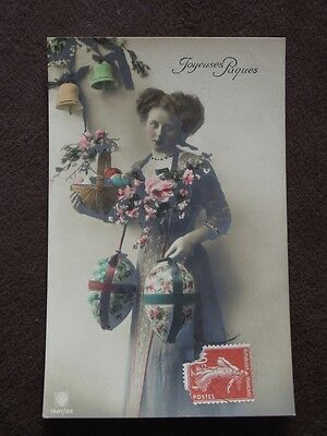 Woman With Easter Eggs & Bells - Tinted  - Vtg 1911 French  Real Photo Postcard