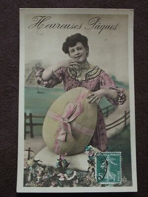 Woman With Large Easter Egg - Tinted  - Vtg 1911 French  Real Photo Postcard