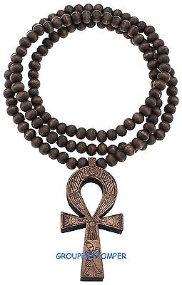 Ankh Egyptian Cross Power Of Life Pendant Necklace 35 Inch Long Beaded Chain