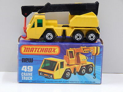 Crane Truck (Yellow with Black Boom) - Made in England Matchbox 49