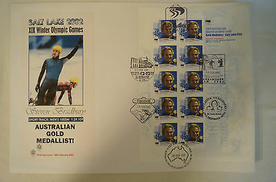 Olympic Games Collectable - Salt Lake 2002-Gold Medal Day Cover -Steven Bradbury