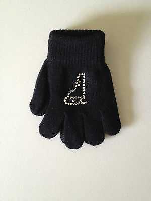 Black Crystal Ice skate Knit magic Gloves size 3-6 years