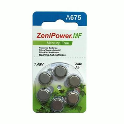 Zenipower Mercury Free Hearing Aid Batteries (QTY 120) Size 675