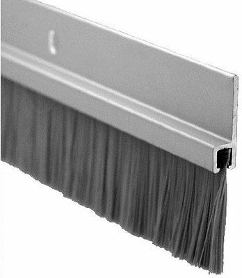 "Pemko Door Bottom Sweep, Clear Anodized Aluminum with 1"" Gray Nylon Brush insert"