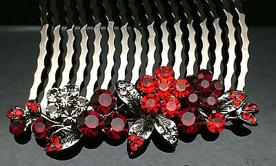 Red Black Blossom Formal Bridal Wedding Crystal Large Hair Comb Clip 8cm Long
