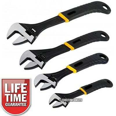 "4Pc Black Heavy Duty Adjustable Wrench Spanner Set 6"" 8"" 10"" 12"" *life Warranty*"
