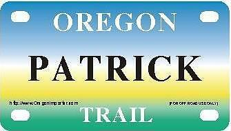 PATRICK Oregon Trail - Mini License Plate - Name Tag - Bicycle Plate!