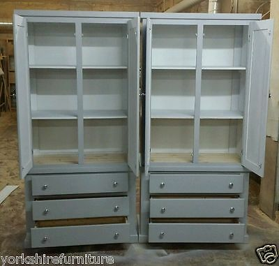 2 x HAND MADE GRAMPIAN GREY 3 DRAWER WARDROBE SHELVES (NO FLAT PACKS) ASSEMBLED