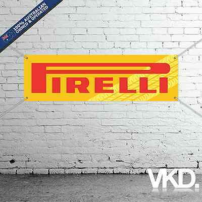Pirelli Tires Banner - Man Cave Work Shop Garage Shed Tyres Mechanic Burnouts