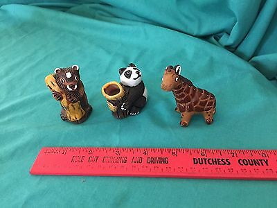 Vintage Camil Bear Giraffe Panda Ceramic Figurines Toothpick Holder Lot 3 Cute