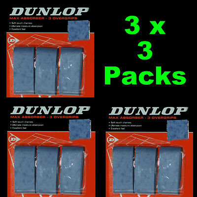 3 x 3 Packs Dunlop Max Absorber Squash / Tennis Overgrips - 3 Pack