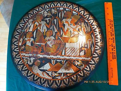 Vintage Copper Egyptian Wall Plate Dish Hand Etched Egypt Pyramids Maze Snake