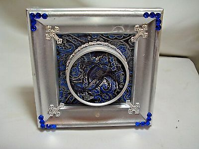 Sterling Silver Painted Reliquary Display With Black/blue/silver Brocade