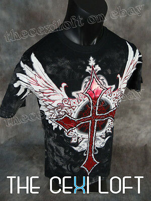 NEW MENS KONFLIC GRAPHIC T-SHIRT Winged Cross Black with Red Foil Trim MMA