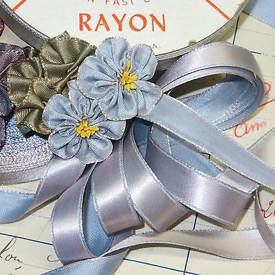 "5y VTG 1/2"" RAYON BLUE VIOLET OMBRE SATIN RIBBON FLOWER ROSETTE DOLL DRESS TRIM"