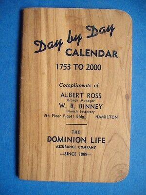 Dominion Life Assurance Company Waterloo Canada Vintage 1940 Day By Day Calendar