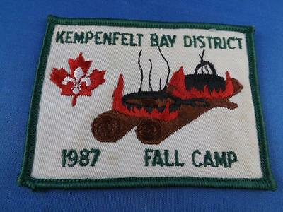 Boy Scouts Bsa Kempenfelt Bay District 1987 Fall Camp Patch Collector Badge