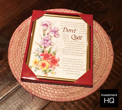 Inspirational Poem / Saying / Quote in gold frame - DON'T QUIT  255 x 205 MM