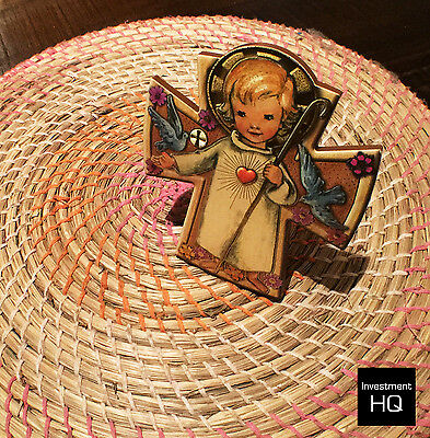 Angel with Child Wooden Cross. Cross Size 120 x 105mm