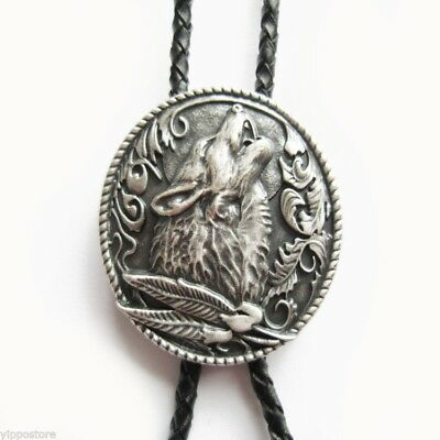 Silver Plated Western Wolf Cowboy Rodeo Oval Bolo Tie