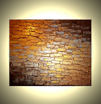 ORIGINAL Gold Bronze Modern ABSTRACT Impasto Fine Art Metallic Textured Painting
