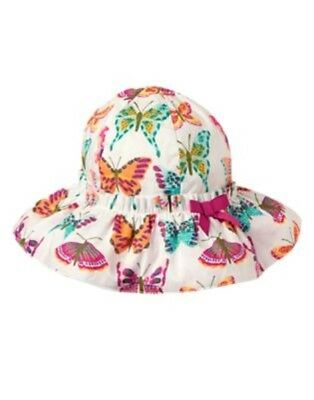 GYMBOREE WOODSIDE WALK WHITE w/ BUTTERFLIES BUCKET HAT 0 3 6 12 18 24 NWT