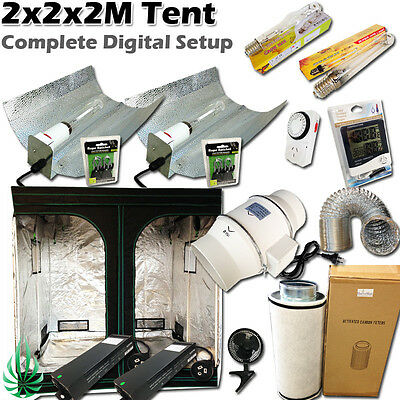 2x400W Dimmable Electronic Lighting 2x2M Grow Tent Fan Filter Hydroponics System