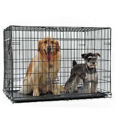 Pet Black 2 Doors Wire Folding Crate Metal Dog Cage Suitcase Exercise Kennel