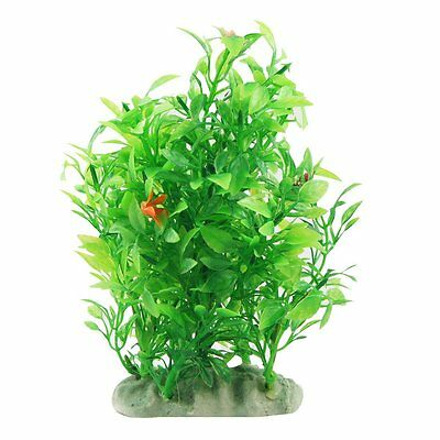 "HE Fish Tank Decor Green Artificial Plastic Plant Grass 5.9"" Height"