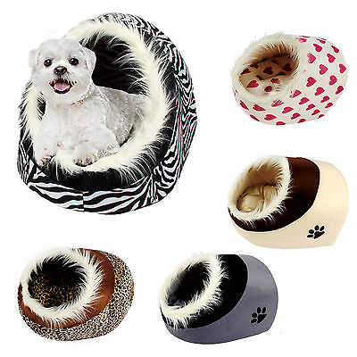 Pet Dog Cat Bed Small Warm Igloo Nest House Puppy Tapered Paw Print Kennel