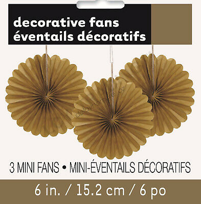 3x Gold Mini Paper Fans Hanging Decoration Birthday Baby Shower Wedding Party