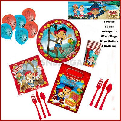Jake & Neverland Pirates Birthday Party Pack Plates Cups Napkins Loot bags 70pc