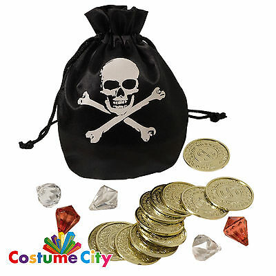 Pirate Treasure Coins Jewels & Pouch Buccaneer Doubloons Fancy Dress Accessory