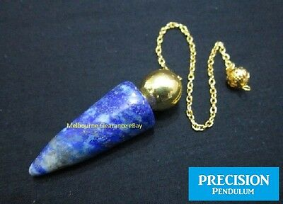 Solid Egyptian Lapis Lazuli Gemstone Precision Pendulum w/ Chain Crystal Healing